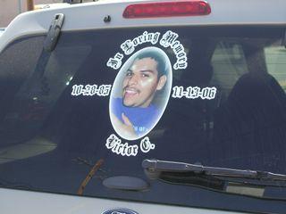 Memorial on car