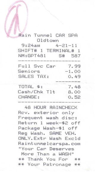 Car wash receipt