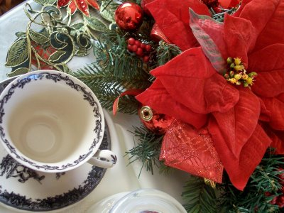 Christmas tea cup display